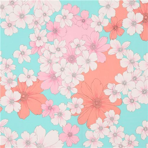 Aqua Fabric Big White Coral Pink Flower By Michael Miller Flower