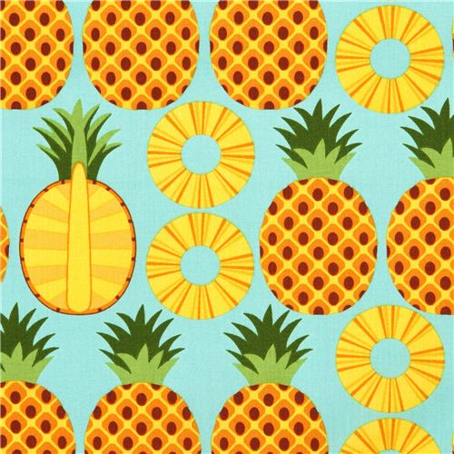 Aqua Pineapple Fruit Fabric Timeless Treasures From The