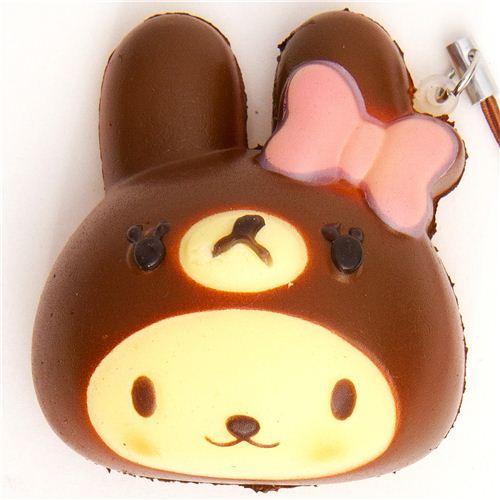 Squishy Bunny Slime Instagram : bear as bunny bread squishy cellphone charm - Food Squishy - Squishies - Kawaii Shop modeS4u