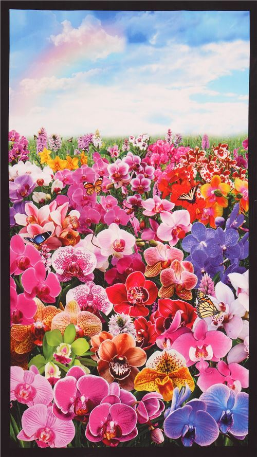 Beautiful Colorful Flowers Panel Digital Print Fabric By Elizabeth S