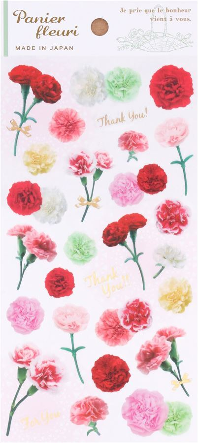 Beautiful pink red yellow carnation flower stickers by mind wave