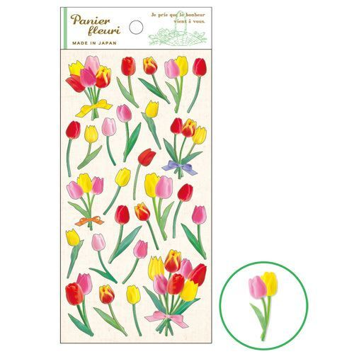 Beautiful pink red yellow tulip flower stickers by mind wave 1