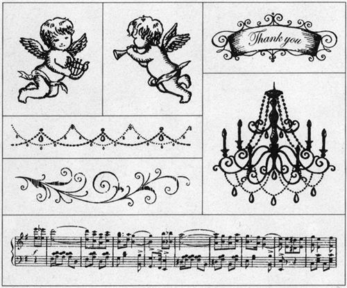 Beautiful Stamp Set Angel Chandelier Music Notes 2