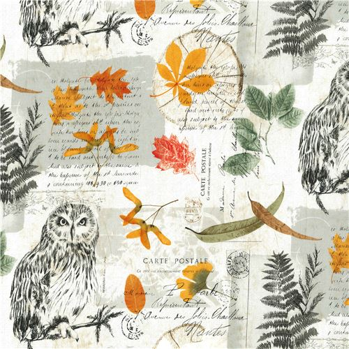 Beiger Michael Miller Stoff Eule oranges grünes Blatt Wise Owl ...