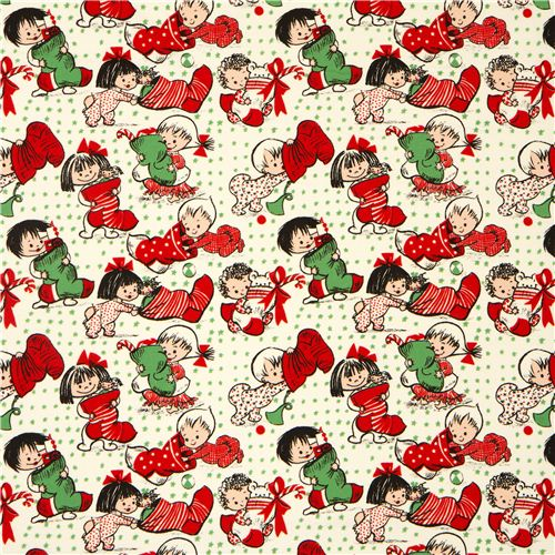beige michael miller flannel fabric christmas child stocking 2