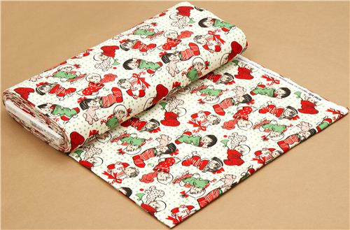 beige Michael Miller flannel fabric Christmas child stocking ...