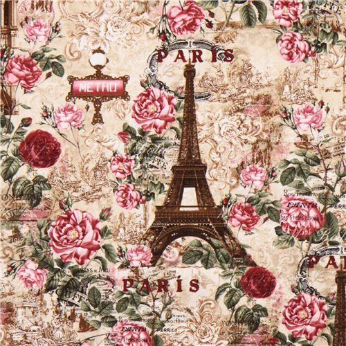 Tela beis par s torre eiffel rosas vintage retro de for Telas vintage