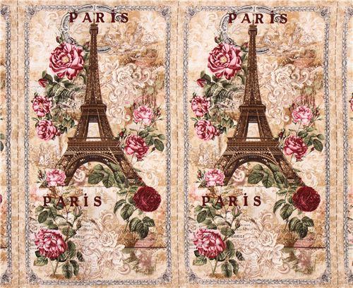 Tissu Beige 224 Panneaux Paris Tour Eiffel Roses Vintage