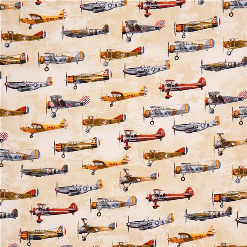 Beige vintage airplane fabric robert kaufman for Airplane fabric by the yard