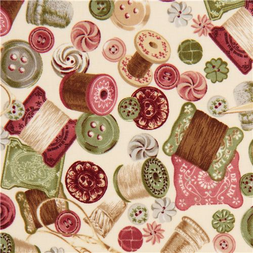 Tela beis vintage con accesorios costura derobert kaufman for Telas vintage