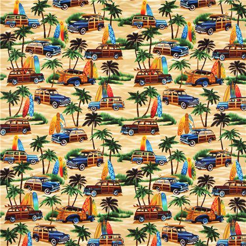Beige Beach Palm Surfing Retro Fabric Timeless Treasures