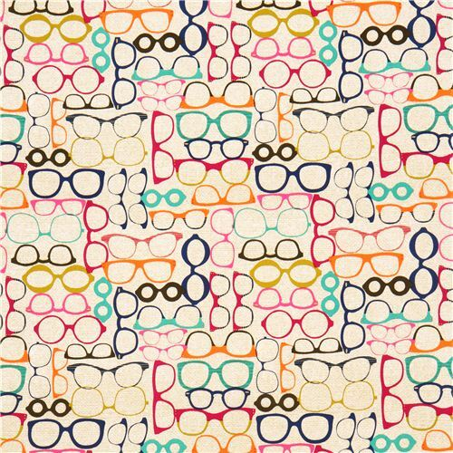1a18f0d550 beige-brown retro glasses fabric by Michael Miller - Kawaii Fabric Shop