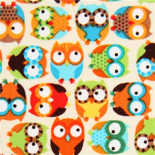 OWLS SMALL  on CREAM COLOR FABRIC by TIMELESS TREASURES 100/% COTTON NEW!!!
