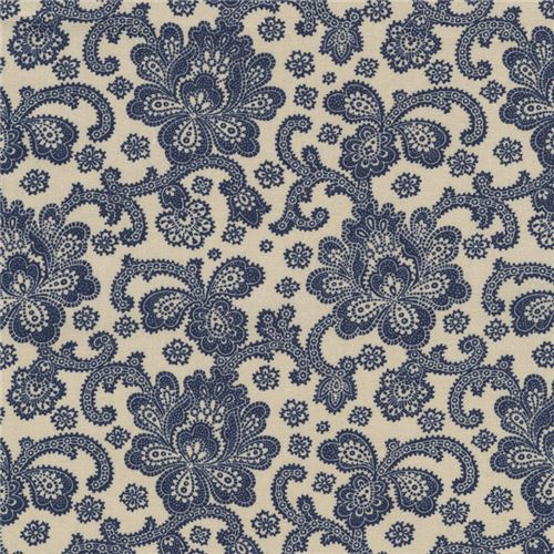 Beige Fabric With Navy Blue Jacobean Flower Design By Timeless Treasures