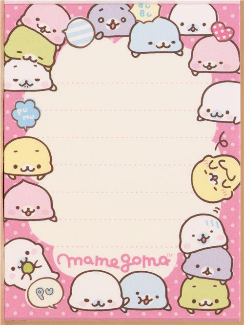 beige mini note pad colourful mamegoma baby seals memo
