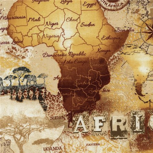 Beige orange africa map fabric timeless treasures retro fabric beige orange africa map fabric timeless treasures 1 gumiabroncs Image collections