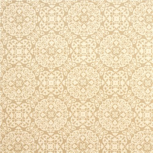 Beige ornament premium laminate fabric by michael miller for Vintage klebefolie