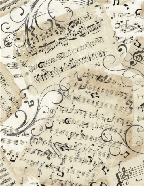 Beige with grey black music note fabric by timeless for Tessuto note musicali ikea