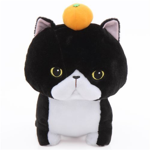 Big Black And White Cat With An Orange Noseteru Munchkin Plush Toy