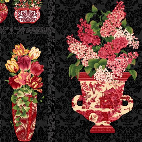 Big black dark grey beautiful red pink flower vase panel fabric by big black dark grey beautiful red pink flower vase panel fabric by henry glass 1 mightylinksfo