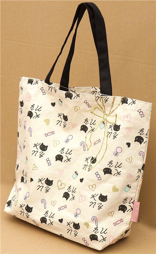Gran bolso de tela del gato kutusita nyanko bolsos for Disenos de bolsos de tela