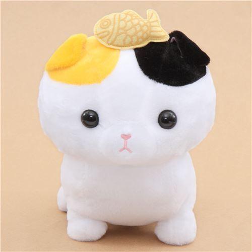 Big White Cat With A Fish Noseteru Munchkin Plush Toy Japan Cat