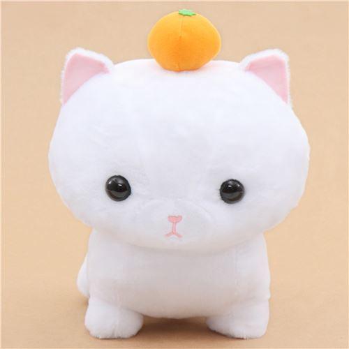 Big White Cat With An Orange Noseteru Munchkin Plush Toy Japan Cat
