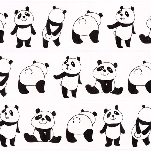 Cinta adhesiva decorativa paquete ancha blanca oso panda de Japn
