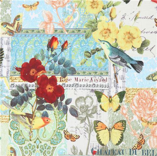 Babyplüsch Mit Vögeln Blumen Schmetterlingen Von Michael Miller
