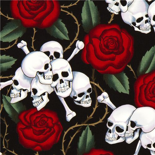 Black Alexander Henry Rose Fabric With Skulls Skulls