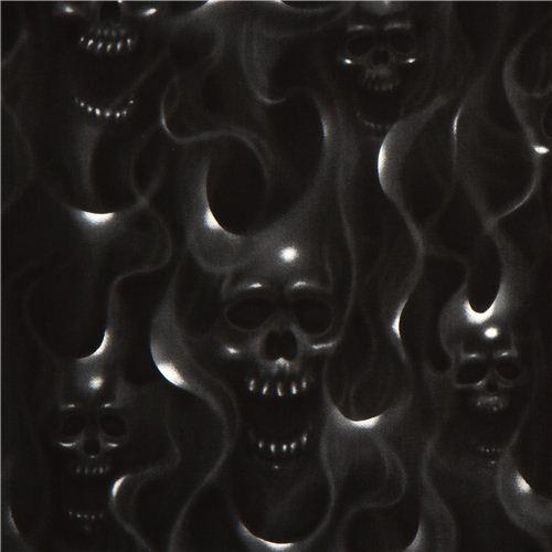 black alexander henry fabric with skulls on fire skulls fabric