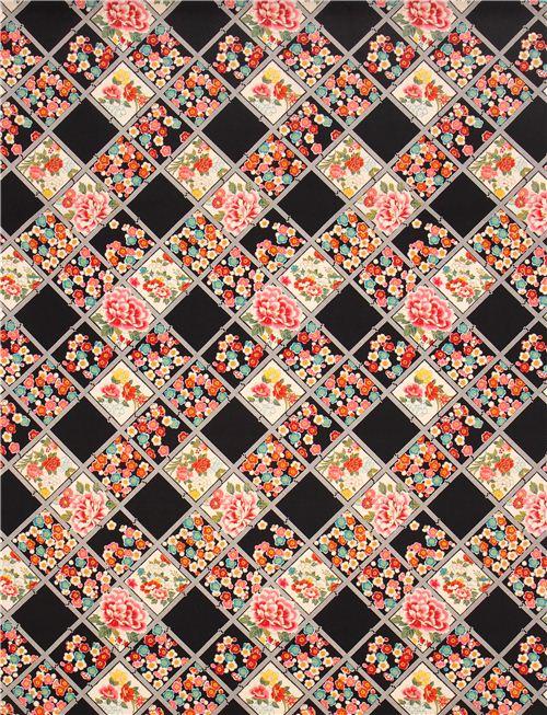 schwarzer asia blumen karo muster kokka stoff aus japan. Black Bedroom Furniture Sets. Home Design Ideas