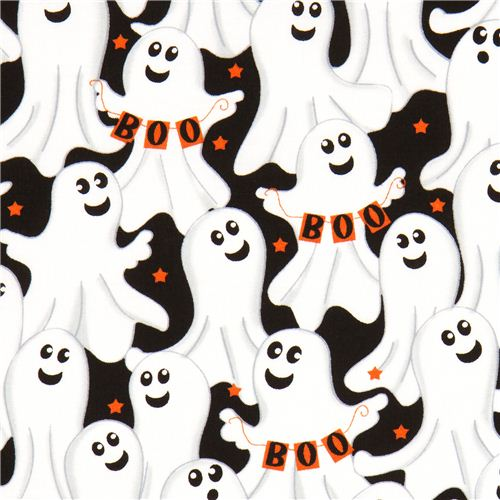 schwarzer Halloween Designer Stoff mit Geistern Boo Stern ...