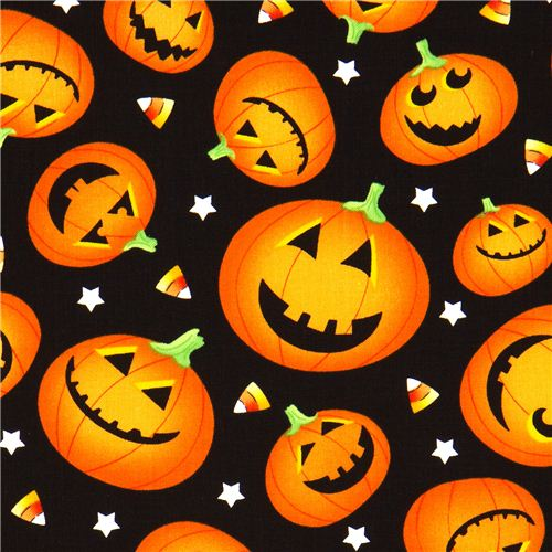 black halloween designer fabric with orange pumpkins 1 - Black And Orange Halloween