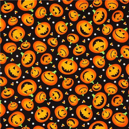 schwarzer Halloween Designer Stoff mit orangenen Kürbissen ...