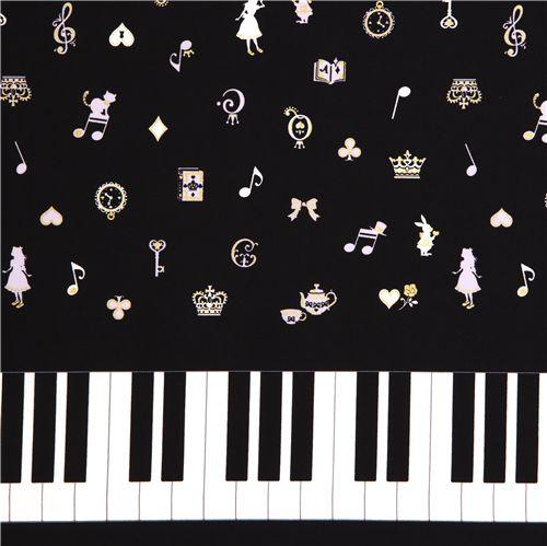tissu japonais noir alice au pays des merveilles piano. Black Bedroom Furniture Sets. Home Design Ideas