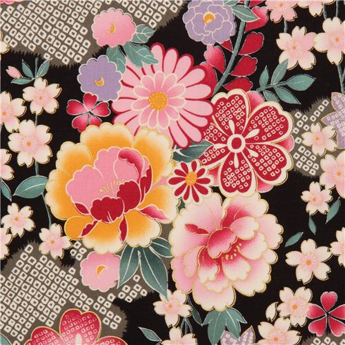 black japanese flower fabric with gold by kokka flower fabric