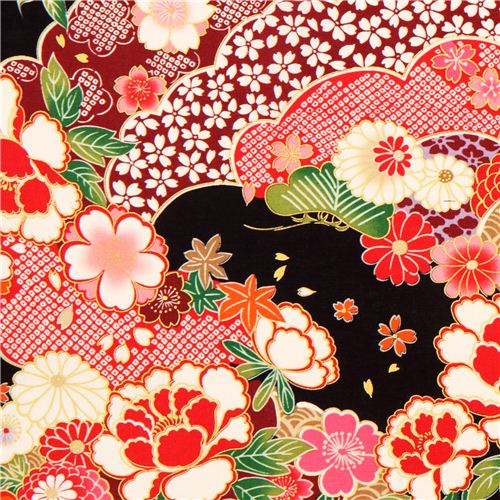 black Kokka Japanese flower fabric with gold - Flower ...
