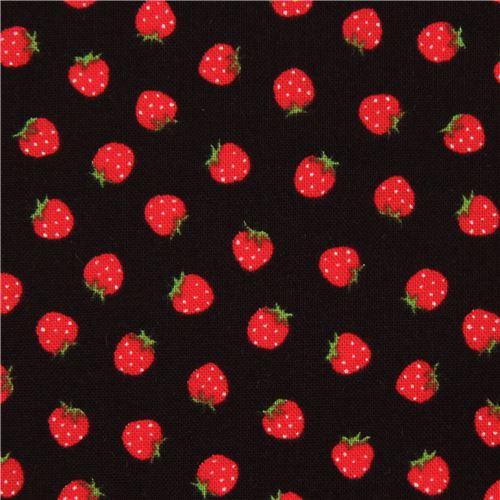 schwarzer lecien stoff rote mini erdbeere frucht essen stoffe stoffe kawaii shop modes4u. Black Bedroom Furniture Sets. Home Design Ideas