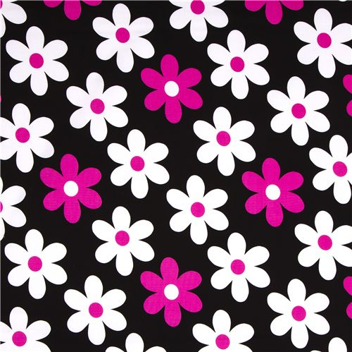 Black michael miller fabric pink white flowers flower fabric black michael miller fabric pink white flowers 2 mightylinksfo