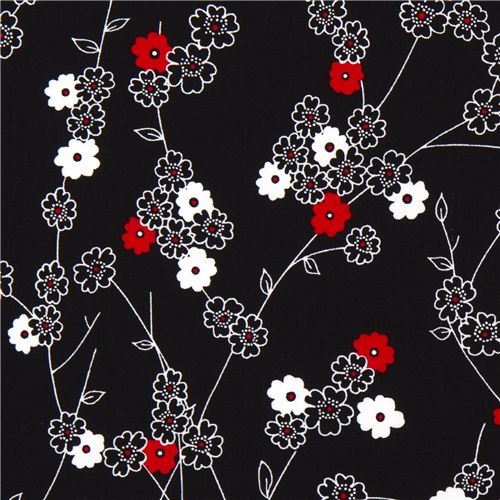 Black michael miller fabric white red flowers 1