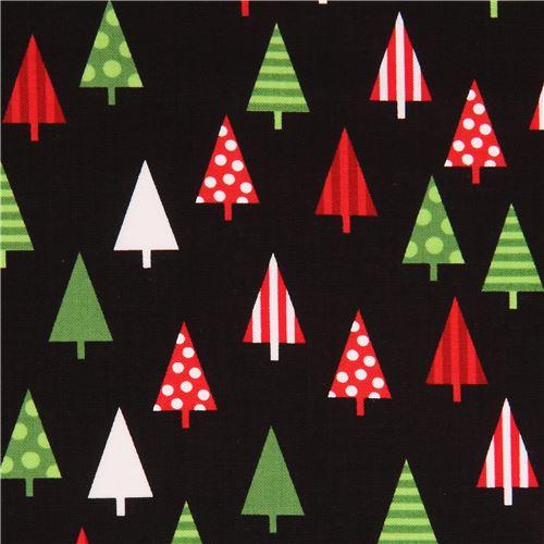 black Robert Kaufman fabric cute colorful Christmas tree Jingle 4 ...