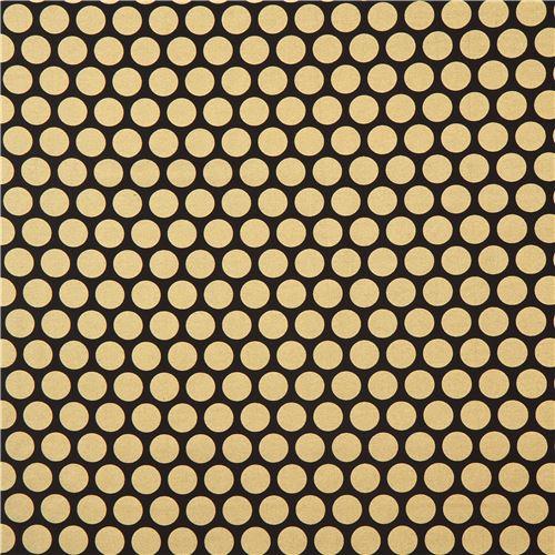 black Robert Kaufman gold metallic dot fabric Spot On Studio RK ...