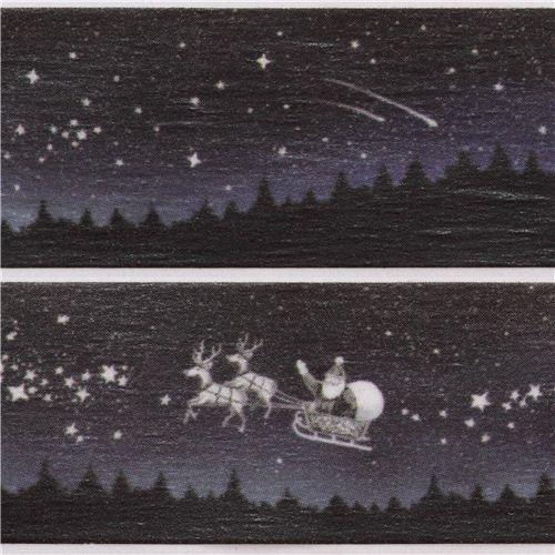 Nastro adesivo decorativo washi blu scuro natale renne slitta stelle nastri adesivi natalizi - Nastri decorativi natalizi ...
