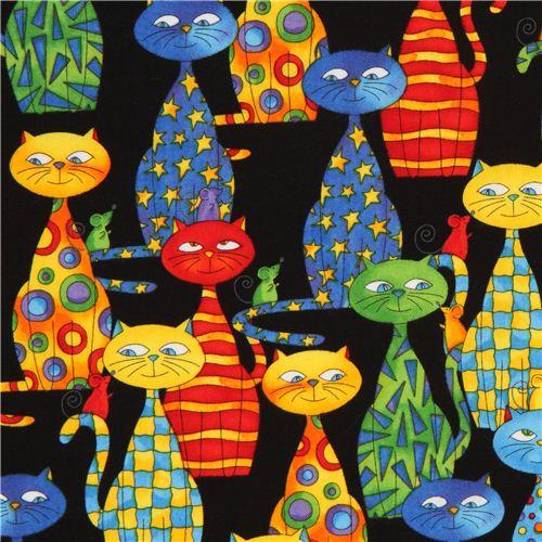 tela negra de gatos de dibujos por timeless treasures eeuu - telas con animales