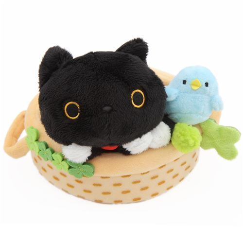 Black Cat Animal Kitty Bed Bird Clover Plush Toy Cat Plush