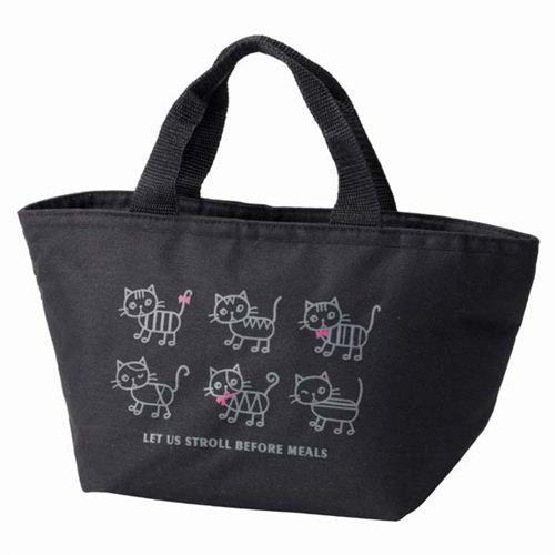 sac repas isotherme bento noir avec des chats et un. Black Bedroom Furniture Sets. Home Design Ideas