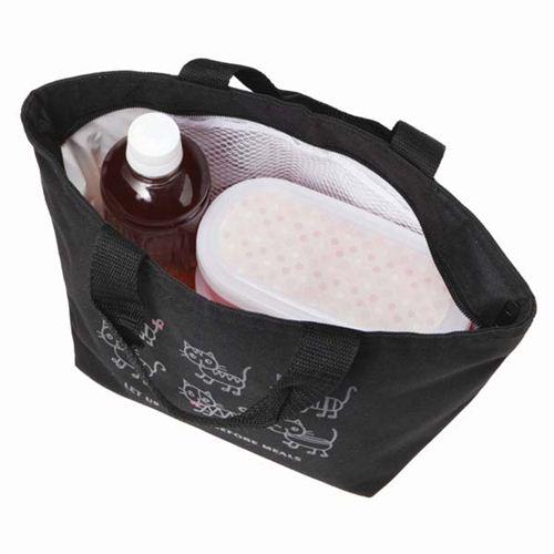 sac repas isotherme bento noir avec des chats et un espace pour des bouteilles sacs. Black Bedroom Furniture Sets. Home Design Ideas