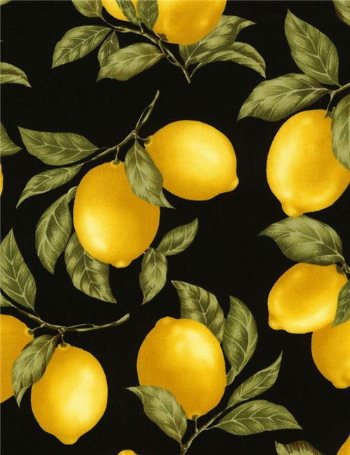 black cute yellow lemon green leaf fabric by Timeless Treasures from ...