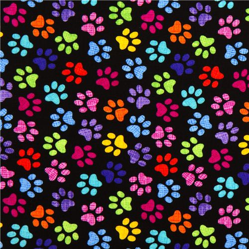 black designer fabric with colourful checkered paw prints Kawaii